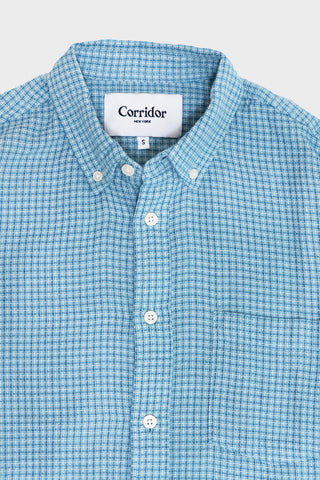 corridor clothing nyc Summertime Check Shirt - Sky Blue