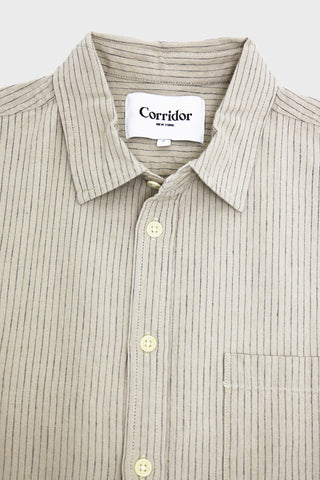 corridor clothing nyc Tattersal Stripe Shirt - Natural Linen