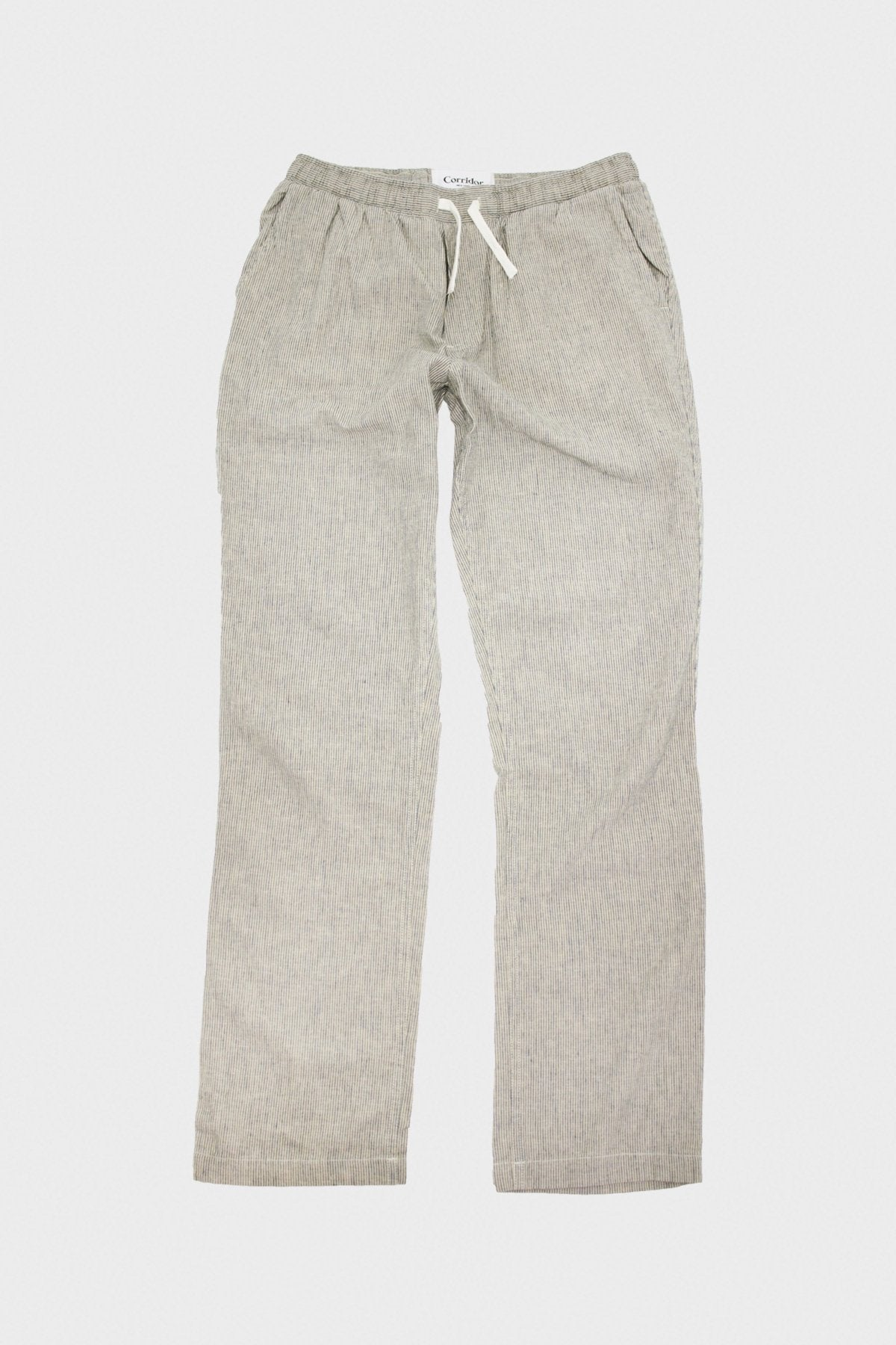 Corridor - Ticking Stripe Linen Drawstring Trousers - Natural - Canoe Club