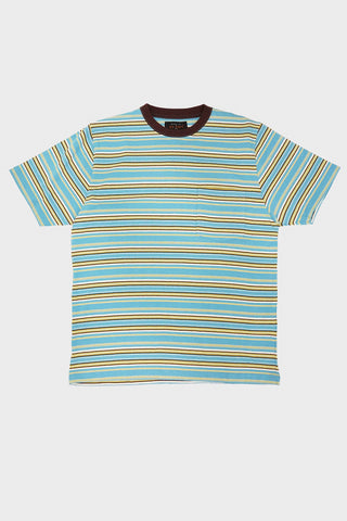 beams plus Pocket Tee 18/- Multi Border - Sax