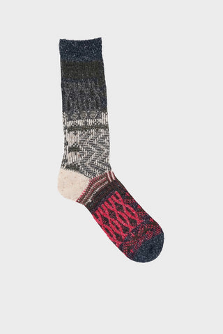 anonymous ism Multi Links Jacquard Crew socks - Dark Navy