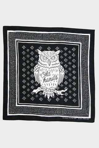 Old Hands clothing japan Owl Bandana - Black