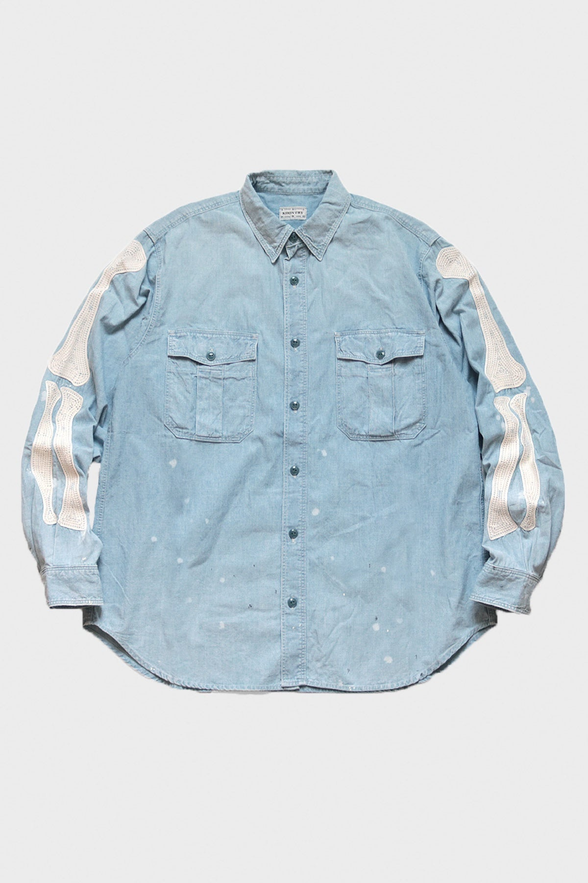 Kapital - Chambray Work Shirt (BONE Embroidery) - Sax - Canoe Club