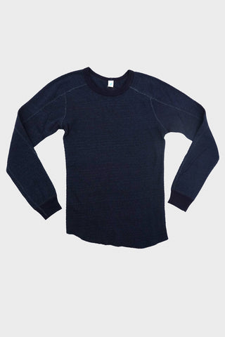 pure blue japan Flat Seam Military Thermal Long Sleeve T - Indigo