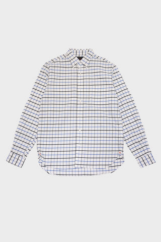 beams plus Tattersall Stretch Oxford Shirt - Sax