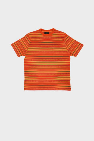 beams plus Pocket Tee Jacquard Border - Orange