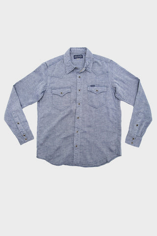 iron heart IHSH-228 Indigo 5oz Cotton Linen Chambray Western Shirt