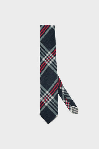 engineered garments Neck Tie - Dark Grey/Blue/Red Poly Wool Big Plaid