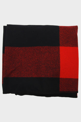 Blanket Cape - Black Big Plaid Wool Melton