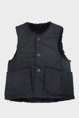 Engineered Garments Over Vest - Black Cotton Herringbone Twill