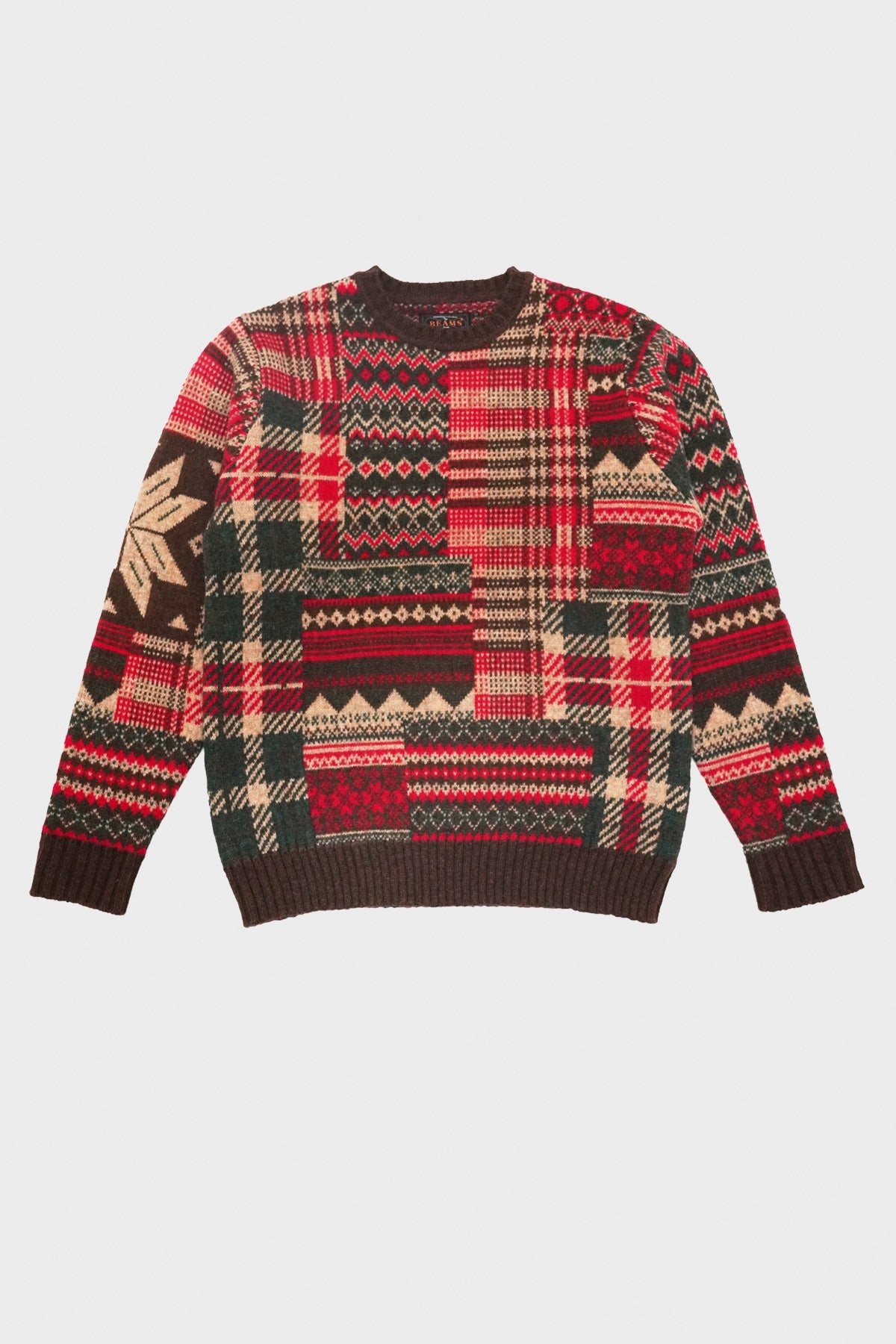 beams plus Patchwork Jacquard Sweater - Brown/Red