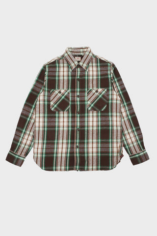sugar cane Twill Check Work Shirt - Brown