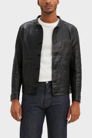 levi's lvc Einstein's Menlo Cossak Leather Jacket - Jet Black