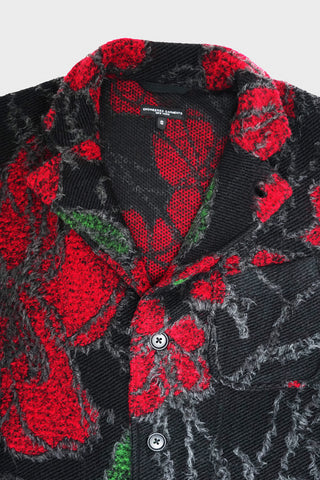 engineered garments Knit Jacket - Black/Red Acrylic Wool Floral Knit Jacquard