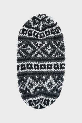engineered garments Long Beanie - Black/Grey Poly Acrylic Fair Isle Sweater Knit