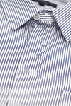 engineered garments Short Collar Shirt - Navy/White Cotton Narrow Stripe Broadcloth