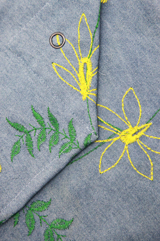 Shoulder Pouch - Denim Floral Embroidery