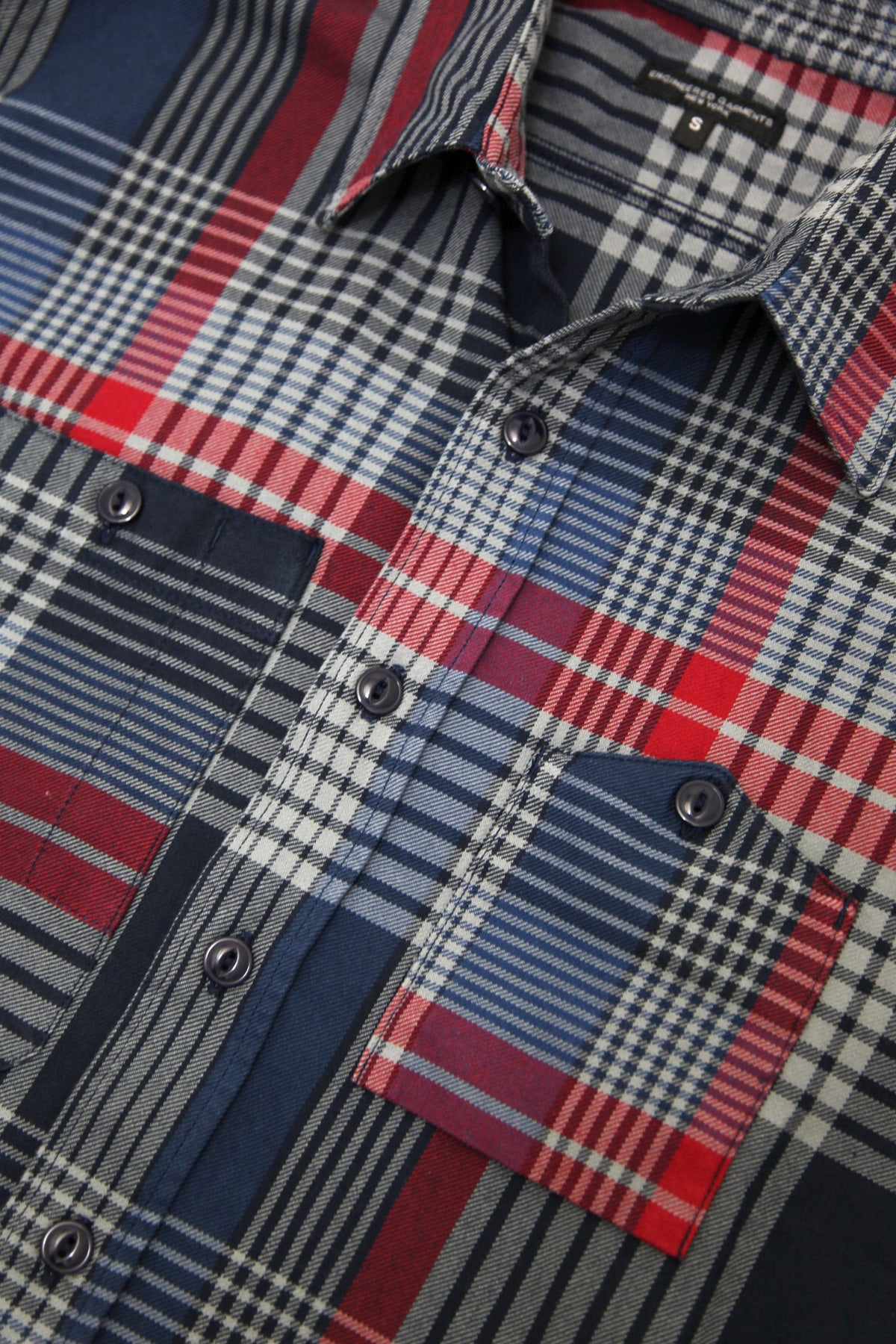 Engineered Garments - Work Shirt - Navy/Grey/Red Cotton Twill Plaid - Canoe Club