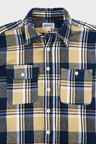 engineered garments workaday Utility Shirt - Khaki/Navy/White Plaid Flannel