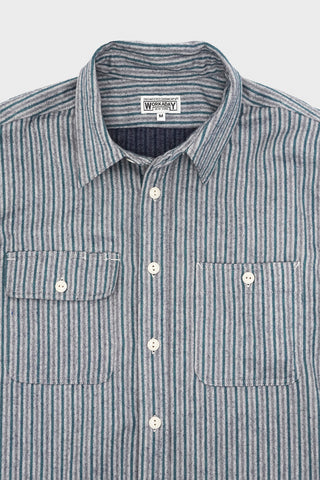 engineered garments workaday Utility Shirt - Navy Cotton Mini Stripe Flannel