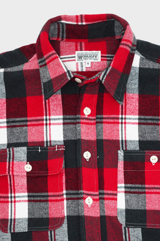 engineered garments workaday Utility Shirt - Red/Navy/White Plaid Flannel