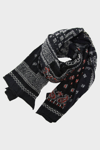 Compressed Wool Scarf Bandana Patchwork - Black