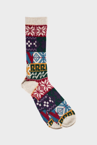 anonymous ism Multi Pattern Jacquard Crew socks - Natural