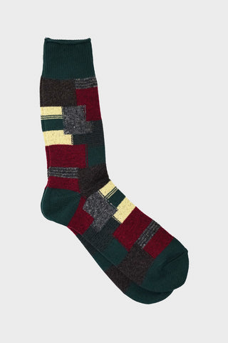 anonymous ism Patchwork Crew socks - Moss Green