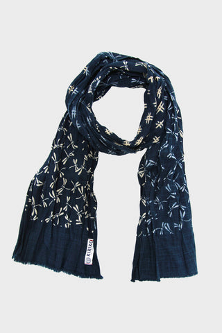 kiriko Two Tone Kiji Scarf - Indigo/Tonbo and Igeta