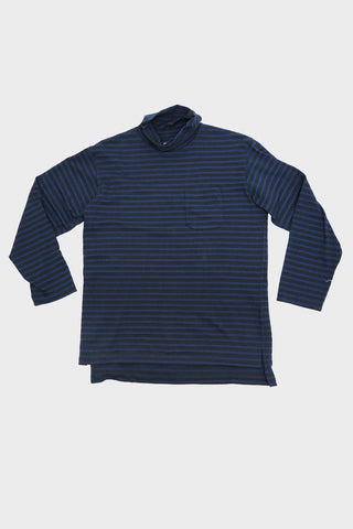 engineered garments Long Sleeve Turtleneck Shirt - Black/Navy PC Stripe Jersey