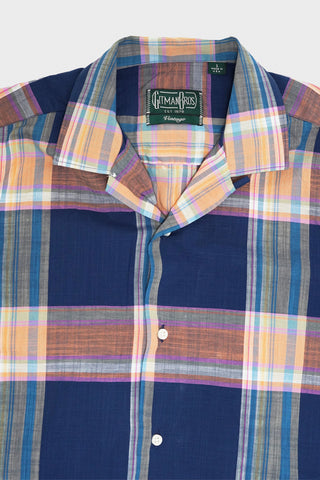 gitman bros. vintage Archive Cotton Madras camp shirt - Navy
