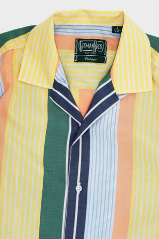 gitman bros. vintage Cotton/Linen Awning Stripe camp shirt - Orange