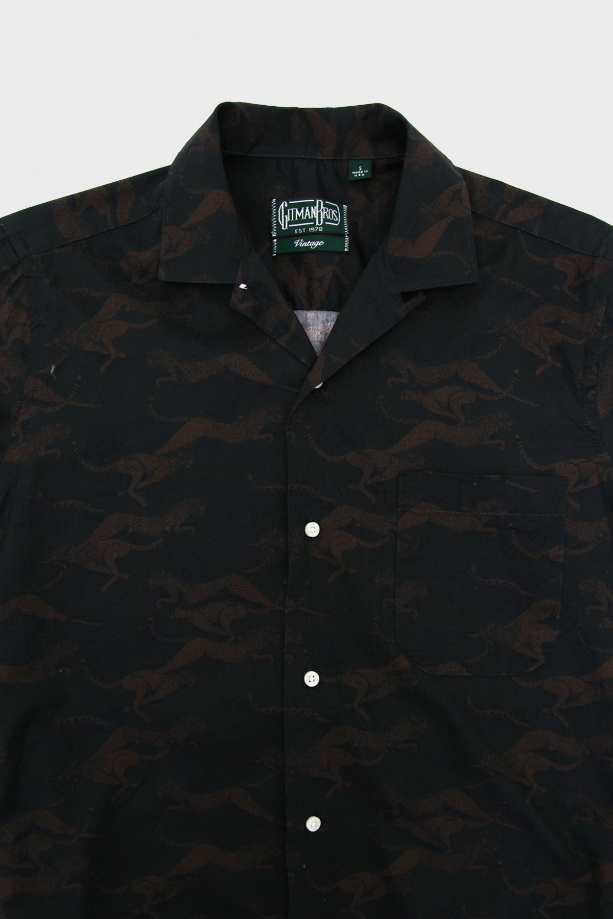 gitman bros. vintage Camp Collar Shirt - Navy Cheetah