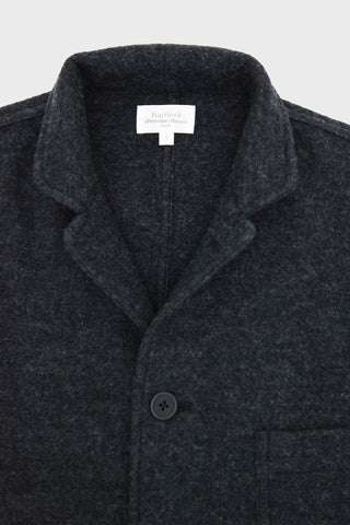Boiled Wool Light Knitted Jacket - Charcoal