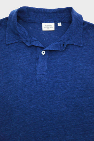 Linen Long Sleeve Polo - Neptune