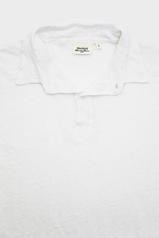 Linen Long Sleeve Polo - White