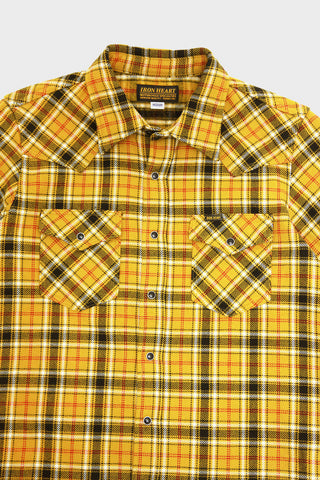 iron heart IHSH-230 Ultra Heavy Flannel Western Shirt Classic Check - Mustard