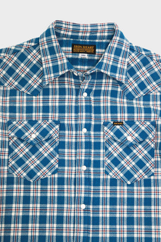 iron heart IHSH-231 Ultra Heavy Flannel Western Shirt Tartan Check - Blue