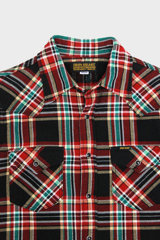 iron heart IHSH-237 Ultra Heavy Flannel Western Shirt Crazy Check - Black