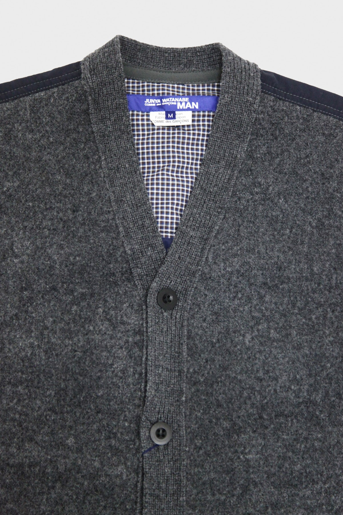 junya watanabe Cotton Weather Cardigan - Wool Tweed x Worsted Wool Jacquard - Gray/Navy