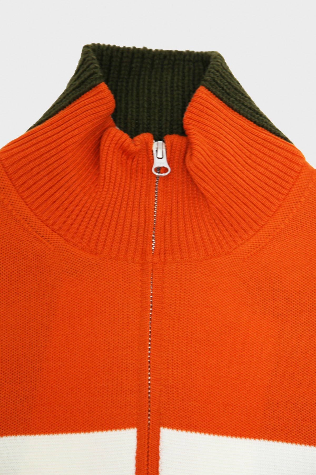 Junya Watanabe MAN - Worsted Wool Milano Rib Sweater - Horizontal Stripe x Wool Jersey - Orange/Khaki - Canoe Club