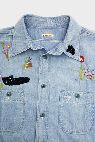 Kapital Chambray Work Shirt (Cat Embroidery) - Sax