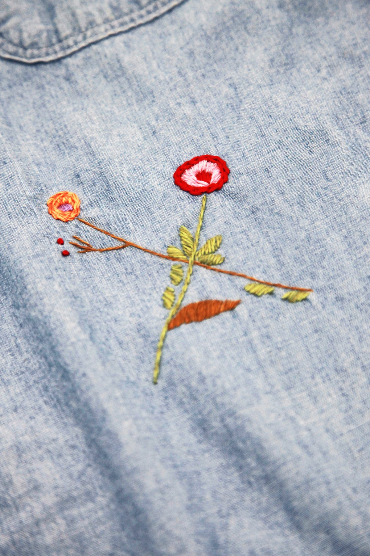 Chambray Work Shirt (Cat Embroidery) - Sax