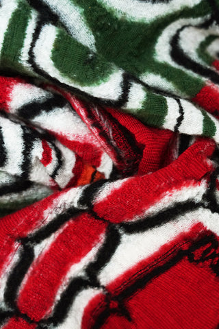 kapital Compressed Wool Scarf RASTA AINU - Red
