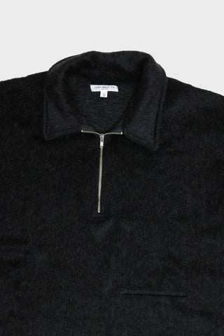 lady white co. Furry 1/4 Zip shirt - Black