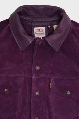 levis vintage clothing lvc 1960's Suede Trucker - Purple Passion