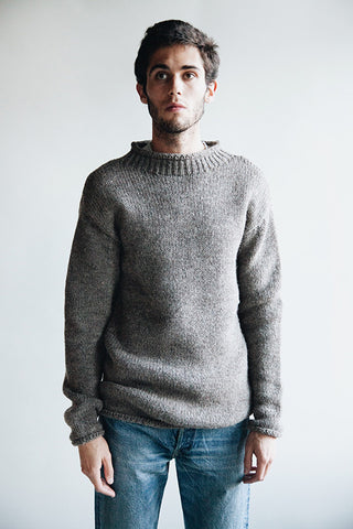 full count Old Fisherman Wool Sweater - Heather Brown
