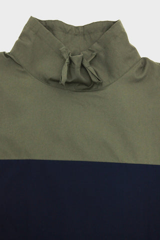 Monitaly Paneled Mock Neck Pullover - Olive/Navy/Black