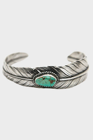 Silver Feather Bracelet Slim with Turquoise