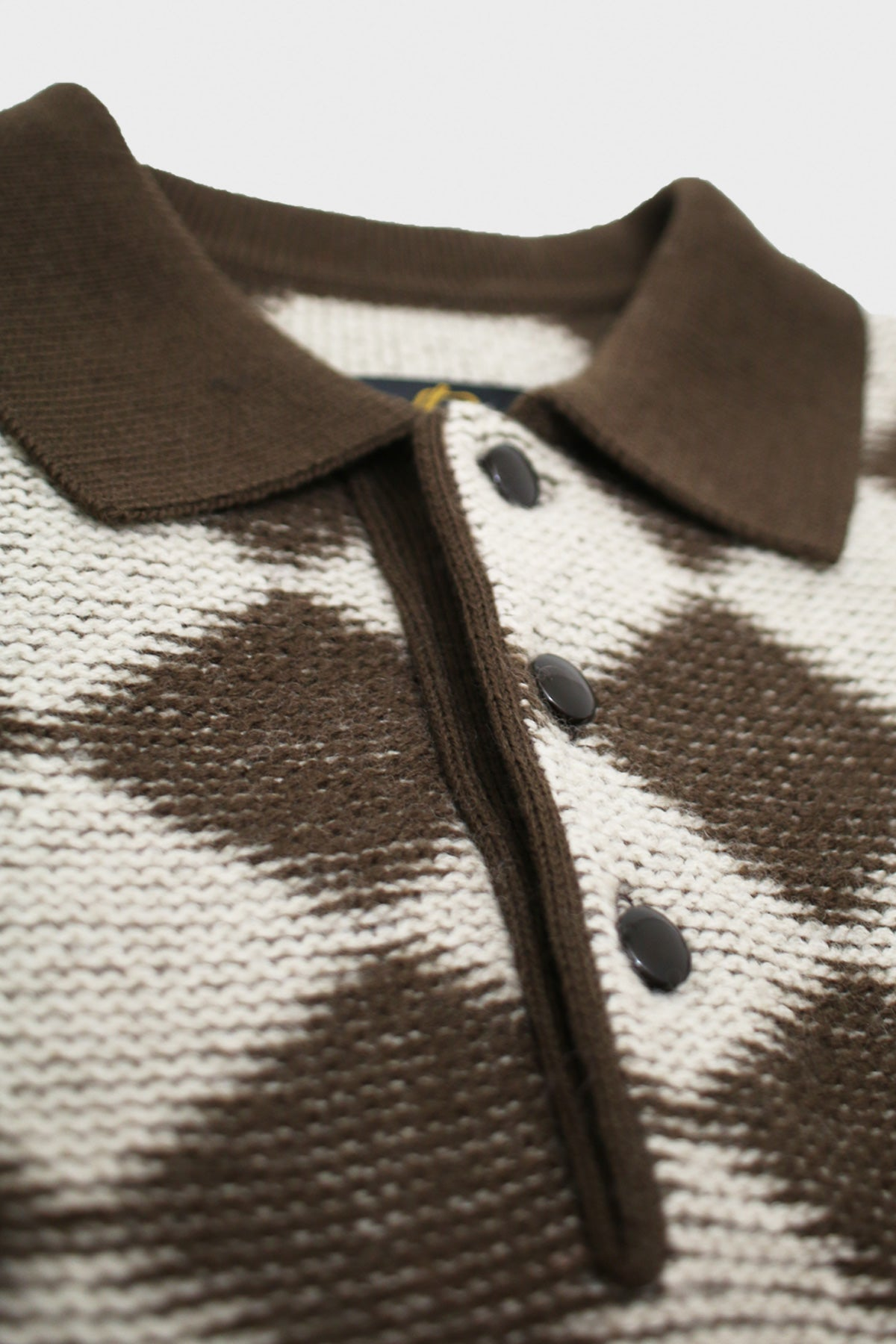 Needles - Checkered Polo Sweater - Dark Brown - Canoe Club